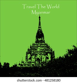 Travel the world. Bagan Myanmar. Vector Illustration