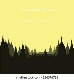 Travel the world. Bagan Myanmar. Vector Illustration
