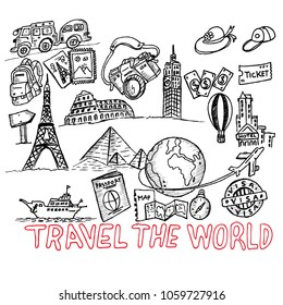 travel the world, doodle