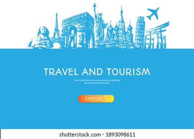 Travel to World with famous landmarks blue color hand drawn sketch style panorama with air plane banner
