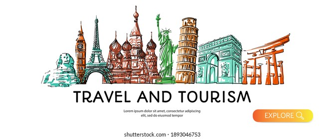 Travel to World with famous landmarks colorful hand drawn sketch style panorama