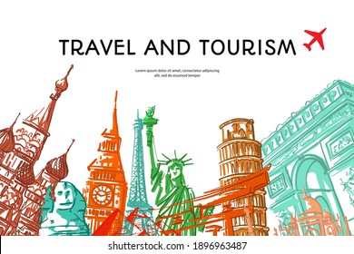 Travel to World with famous landmarks colorful hand drawn sketch style for travel poster and postcard, Vector illustration.