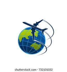 Travel world icon template of aircraft or airplane flying around earth globe. Vector isolated symbol for tourism agency, logistics or international post mail express avia air delivery service