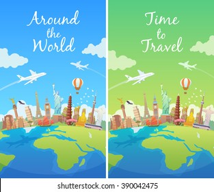 Travel to World. Landmarks on the globe. Vertical web travel banners. America, Asia, Europe. Modern flat design.