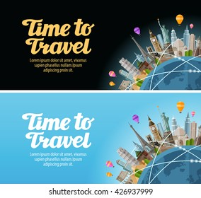 Travel to world. Landmarks on the globe. Journey or vacation