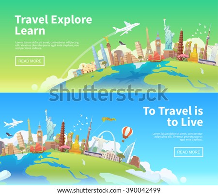 Travel to World. Landmarks on the globe. Horizontal web travel banners. America, Asia, Europe. Modern flat design.
