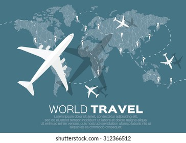 Travel world map background polygonal style stock vector 312366503 travel world map background in polygonal style with top view airplane vector illustration design gumiabroncs Images