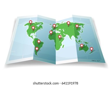 Travel World Map With GPS Pins. Illustration of a cartoon simple world map, with pins and location