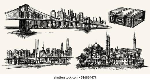Travel the world, New York, Istanbul, Shanghai