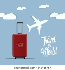 Travel the world poster design vector illustration.