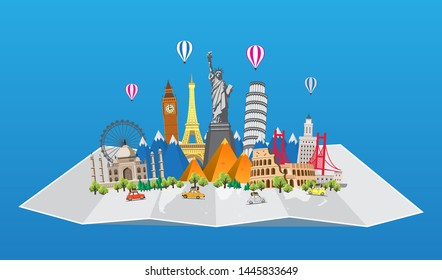 Travel to World. Road trip. Big set of famous landmarks of the world. Time to travel, tourism, summer holiday. Different types of journey. Flat design vector illustration