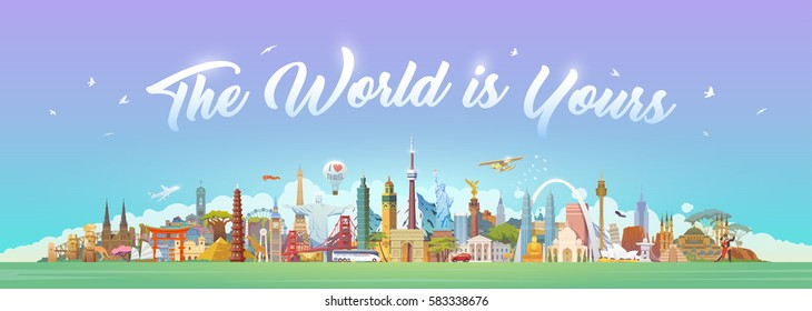 Travel to World. Road trip. Big set of famous landmarks of the world. Concept website template. Vector illustration. Web banner. Modern flat design. #2