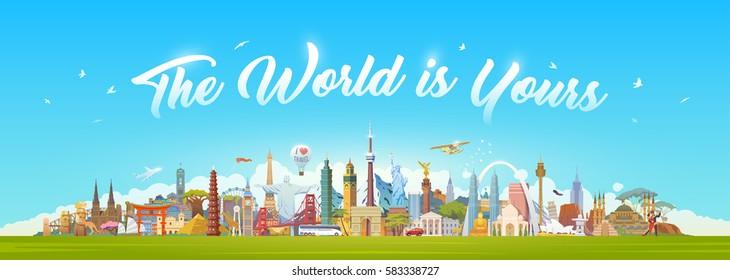Travel to World. Road trip. Big set of famous landmarks of the world. Concept website template. Vector illustration. Web banner. Modern flat design. #1