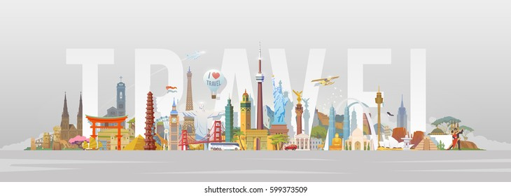 Travel to World. Road trip. Big set of famous landmarks of the world. Concept website template. Vector illustration. Web banner. Modern flat design. #5