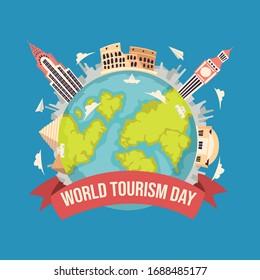 Travel to World. Road trip. Tourism. Landmarks on the globe.