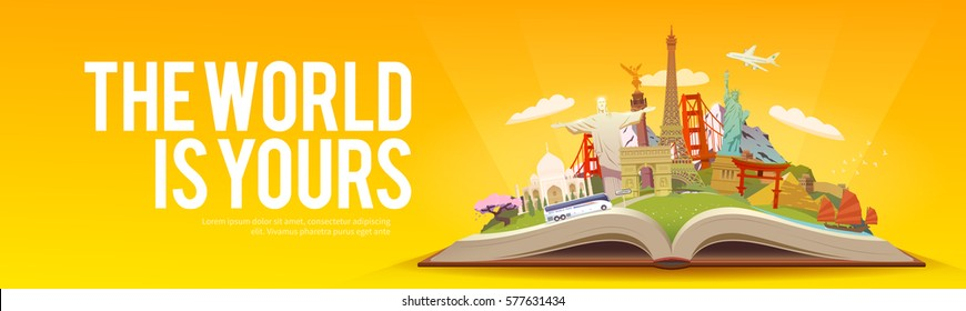 Travel to World. Road trip. Tourism. Open book with landmarks. Travelling vector banner. The World is Yours! Modern flat design. #1