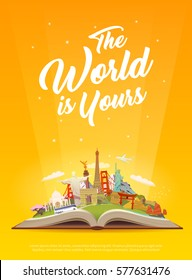 Travel to World. Road trip. Tourism. Open book with landmarks. Travelling vector vertical banner. The World is Yours! Modern flat design. #5