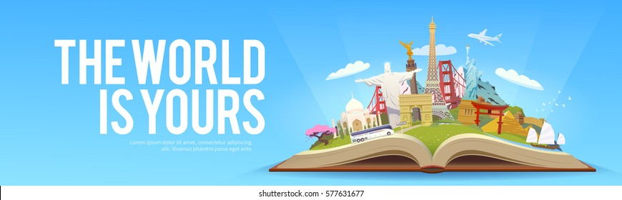 Travel to World. Road trip. Tourism. Open book with landmarks. Travelling vector banner. The World is Yours! Modern flat design. #2