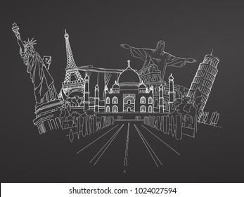 Travel to World. Sketch on Chalkboard. Road trip. Tourism sketch concept with landmarks. Travelling vector illustration. Hand-drawn modern design.