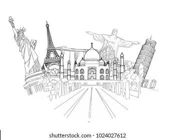 Travel to World Sketch. Road trip. Tourism sketch concept with landmarks. Travelling vector illustration. Hand-drawn modern illustration.