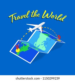 Travel the world text banner with isometric folded map and  commercial airplane