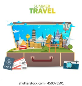 Travel to World. Vacation. Tourism. Banner. Open suitcase with landmarks. Journey. Modern flat design. EPS 10. Colorful.