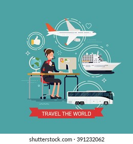 Travel the world vector concept layout with travel agency female character and tourism transport elements airway plane liner, seaway cruise passenger ship and coach bus
