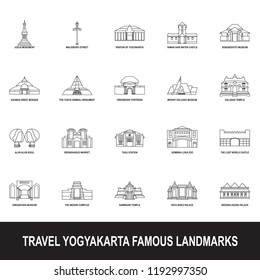 travel yogyakarta famous landmark icon outline