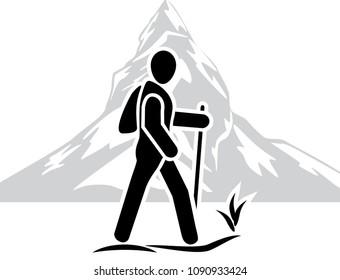 Traveler among the mountains. Icon. Vector