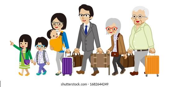 Traveler of asian multi generation family