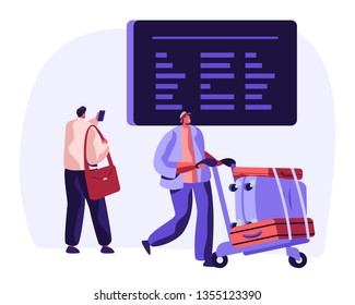 Traveler with Baggage Watch Flights Schedule on Airport Timetable. Airplane Vacation Travel Concept with Man Characters with Luggage and Information Board. Vector flat illustration