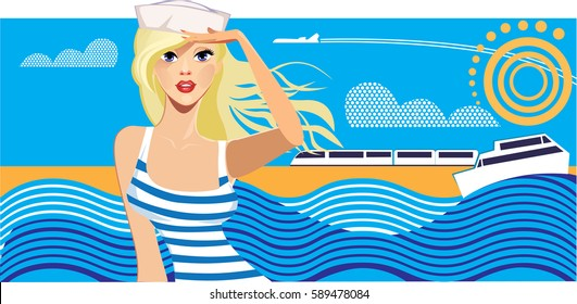 traveler beauty woman on background sky and sea, girl on resort, travel poster