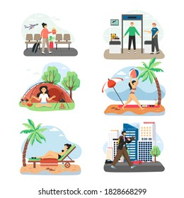 Traveler cartoon characters, flat vector isolated illustration. People traveling by plane, passenger and baggage screening procedures. Summer beach vacation. Yoga and meditation retreat. City travel.