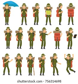 the traveler in different poses set. vector illustration