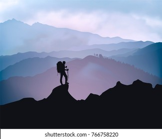 Traveler engaged in trekking in the background of mountains. Sunrise landscape