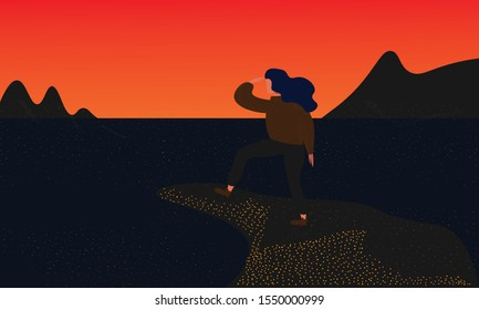 traveler or explorer standing and looking straight on a view. Trendy flat illustration concept of discovery, exploration, hiking, adventure, tourism, travel, achievement, dreams, self-work