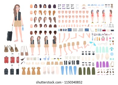 Traveler girl constructor or DIY kit. Bundle of female tourist body parts, postures, clothing, touristic equipment isolated on white background. Colorful vector illustration in flat cartoon style.