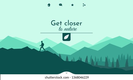 The traveler goes to the mountains with a backpack. Vector illustration