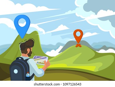 Traveler guy with gps map on tablet searching path to a mountain on the green landscape and clouds with map pins. Flat design vector illustration.