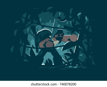 Traveler in jungle. Man with rucksack and rifle, chopping creepers in woods. Vector illustration