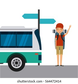 traveler man cartoon icon. trip and vacations concept. colorful design. vector illustration