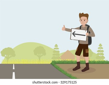 traveler man hitchhiker holding banners to countryside vector