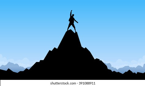 Traveler Man Silhouette Stand Top Mountain Rock Peak Climber Empty Copy Space Vector Illustration
