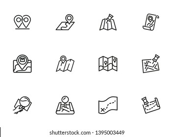 Traveler paths line icon set. Map, route, itinerary. Travel concept. Can be used for topics like navigation, location, guide