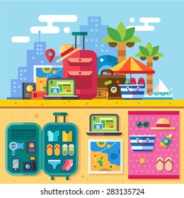 Traveler set for summer vacation with packed bags. Open suitcase. Relaxing on beach, search for destination. Hotel reservation. Travel by sea. Vector flat illustration