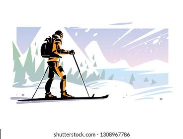 Traveler ski on the slope in mountains. Winter mountain landscape. Vector illustration
