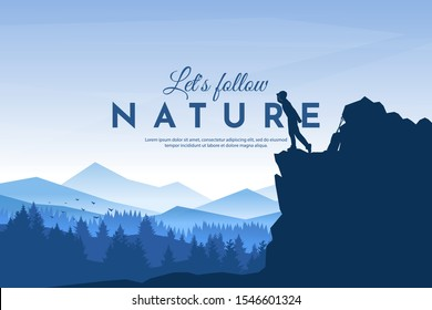 Traveler standing looking on valley. The guy watches nature with backpack and travel walking sticks piled on a rock. Hiking. Adventure tourism. Website template. Countryside. Travel concept.
