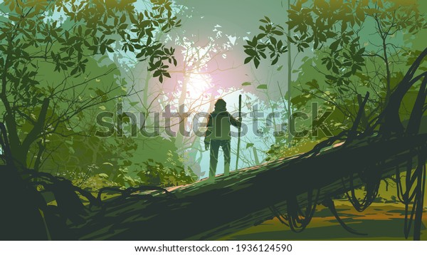 traveler standing on a fallen tree in the forest, vector illustration