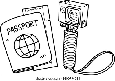 Traveler Travel Kit Doodle, a hand drawn vector doodle illustration of a passport, plane ticket, and an action camera for vlogger travel gear.