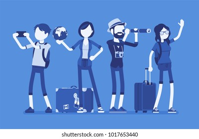 Travelers group with luggage. Young people ready to go on a trip or journey, travel agency planning holiday or vacation for rest and education. Vector illustration with faceless characters